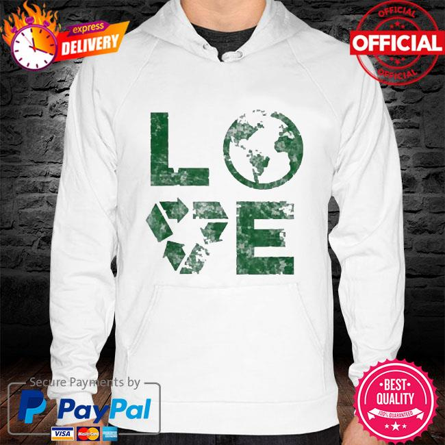 Love earth day 90s vintage recycling kids or teacher hoodie white