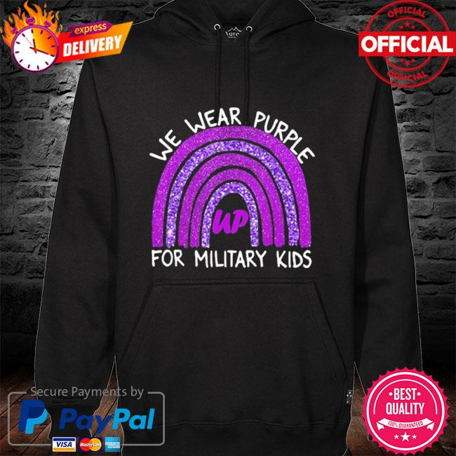 Official we wear purple up for military kids military child month hoodie black