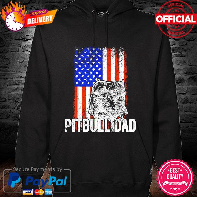 Pitbull Dad American flag s hoodie black