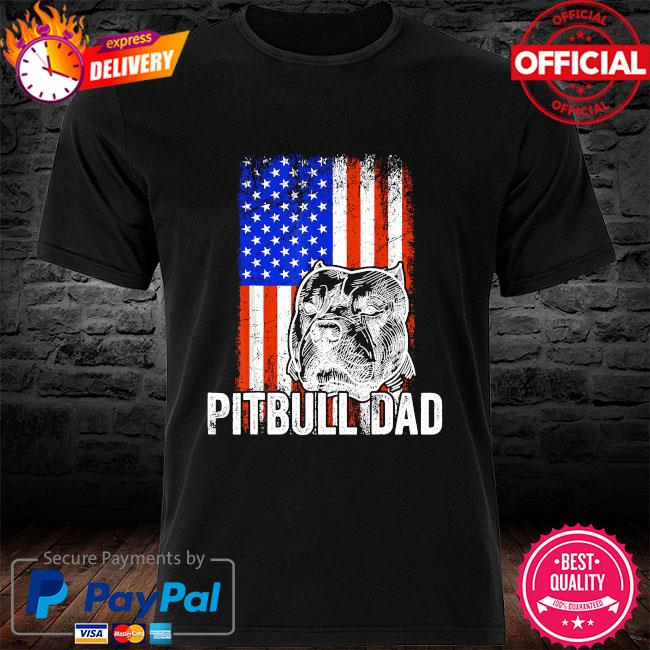 Pitbull Dad American flag shirt