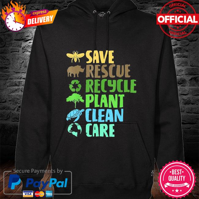 Save bees rescue animals recycle plastict earth day s hoodie black