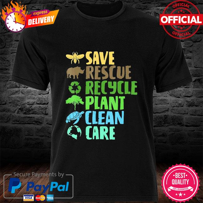 Save bees rescue animals recycle plastict earth day shirt