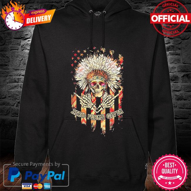 Skull Zero fucks given native hoodie black