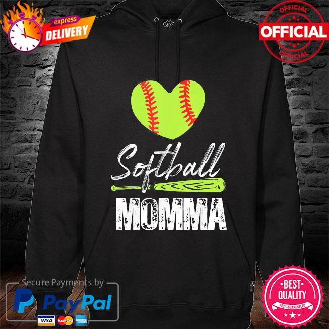 Softball momma catcher pitcher mothers day us 2021 hoodie black