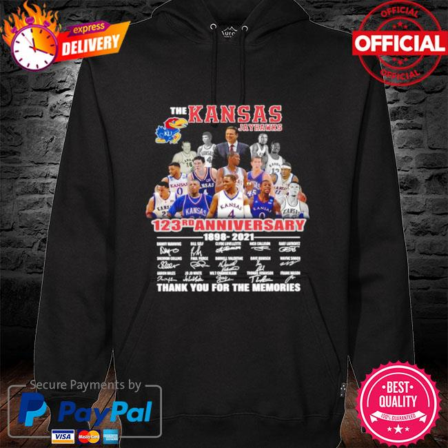 The Kansas jayhawks 123rd anniversary 1989 2021 thank you for the memories signatures s hoodie black