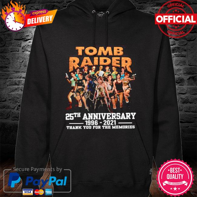 The tomb raider 25th anniversary 1996 2021 thank you for the memories s hoodie black