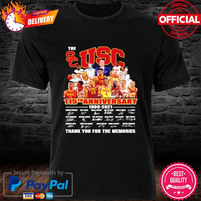 The usc trojans men's basketball 115th anniversary 1906 2021 thank you for the memories shirt