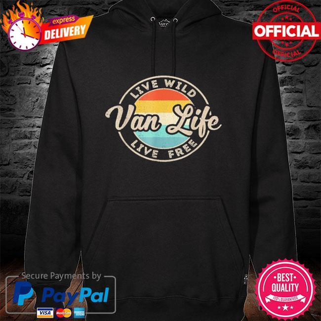 Van life clothing retro vintage van dwellers vanlife nomads hoodie black