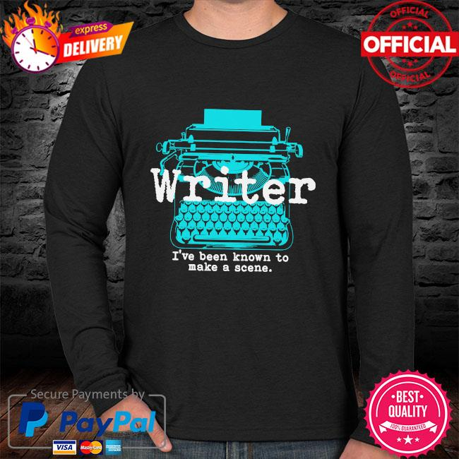 Writer I've been known to make a scene sweater black