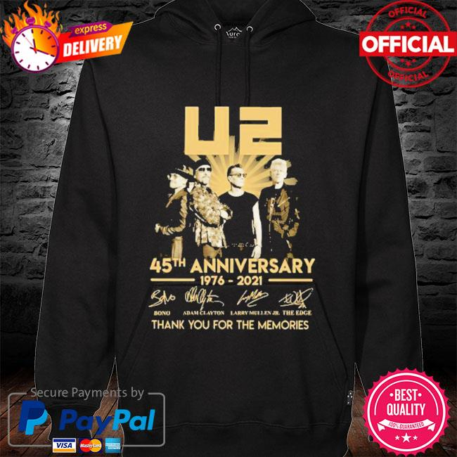 Best 45th anniversary U2 1976-2021 signatures thank you for the memories s hoodie black