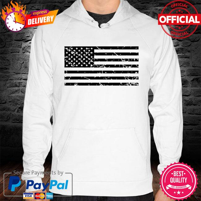 Distressed American flag s hoodie white