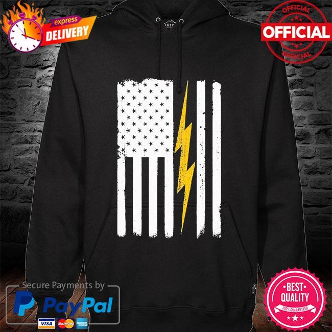 electrician American flag s hoodie black