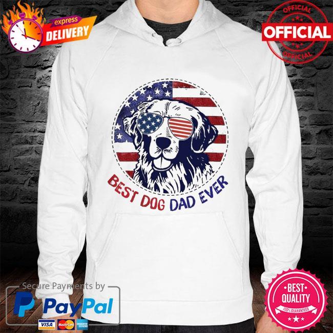 Golden Retriever best dog dad ever American flag hoodie white