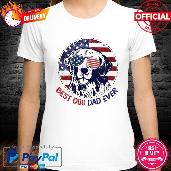 Golden Retriever best dog dad ever American flag shirt