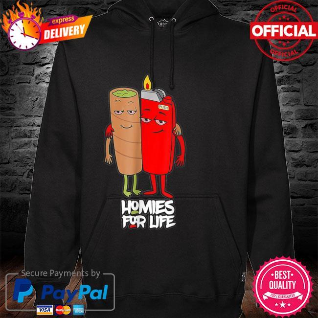 Homies for life weed s hoodie black