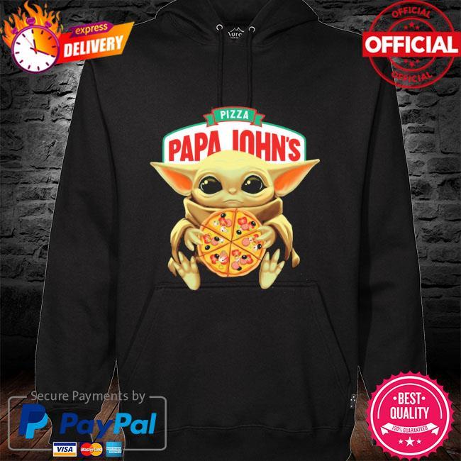 Official star wars baby Yoda hug pizza papa johns s hoodie black