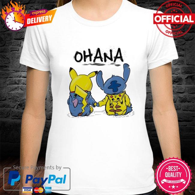 Ohana pikachu and stitch shirt