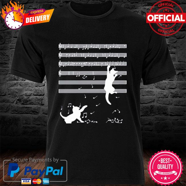 Original 2021 cats playing musical notes and make it down shirt