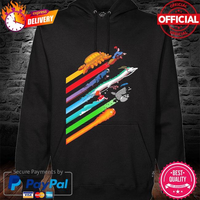 Rainbow studio ghibli s hoodie black