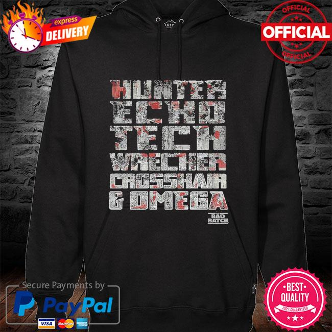 Star Wars The Bad Batch hunter echo tech wrecker omega hoodie black